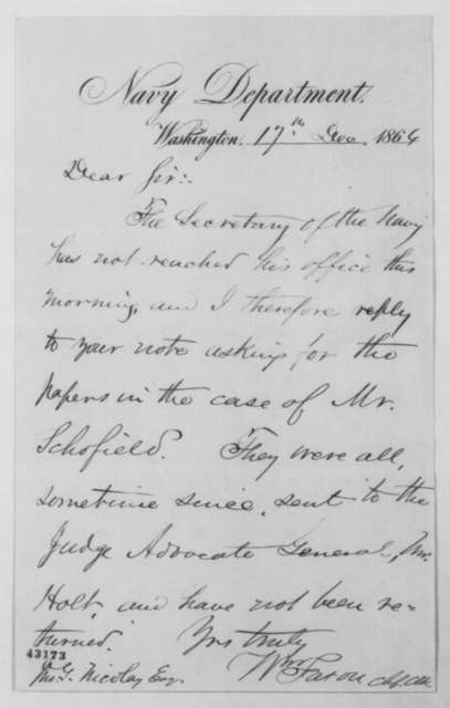 William Faxon to John G. Nicolay, Saturday, December 17, 1864  (Papers for Schofield's case)