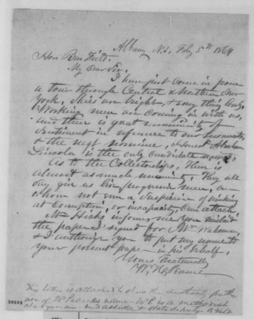 William H. Pearne to Benjamin Field, Friday, February 05, 1864  (New York politics; endorsed by Field)