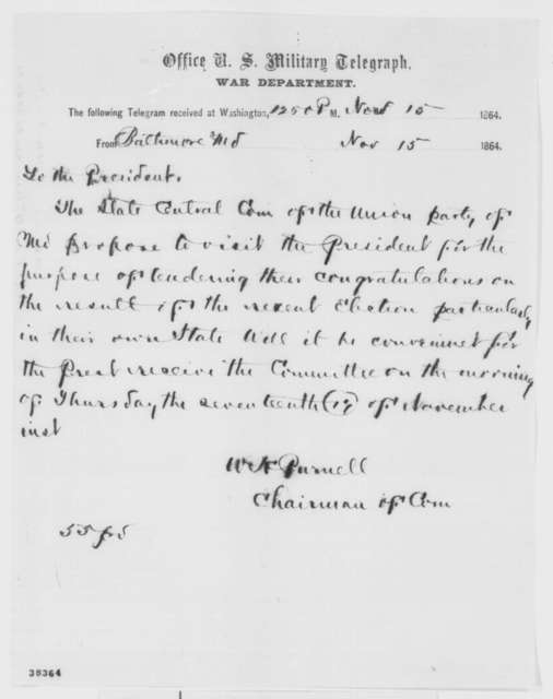 William H. Purnell to Abraham Lincoln, Tuesday, November 15, 1864  (Telegram requesting an interview)