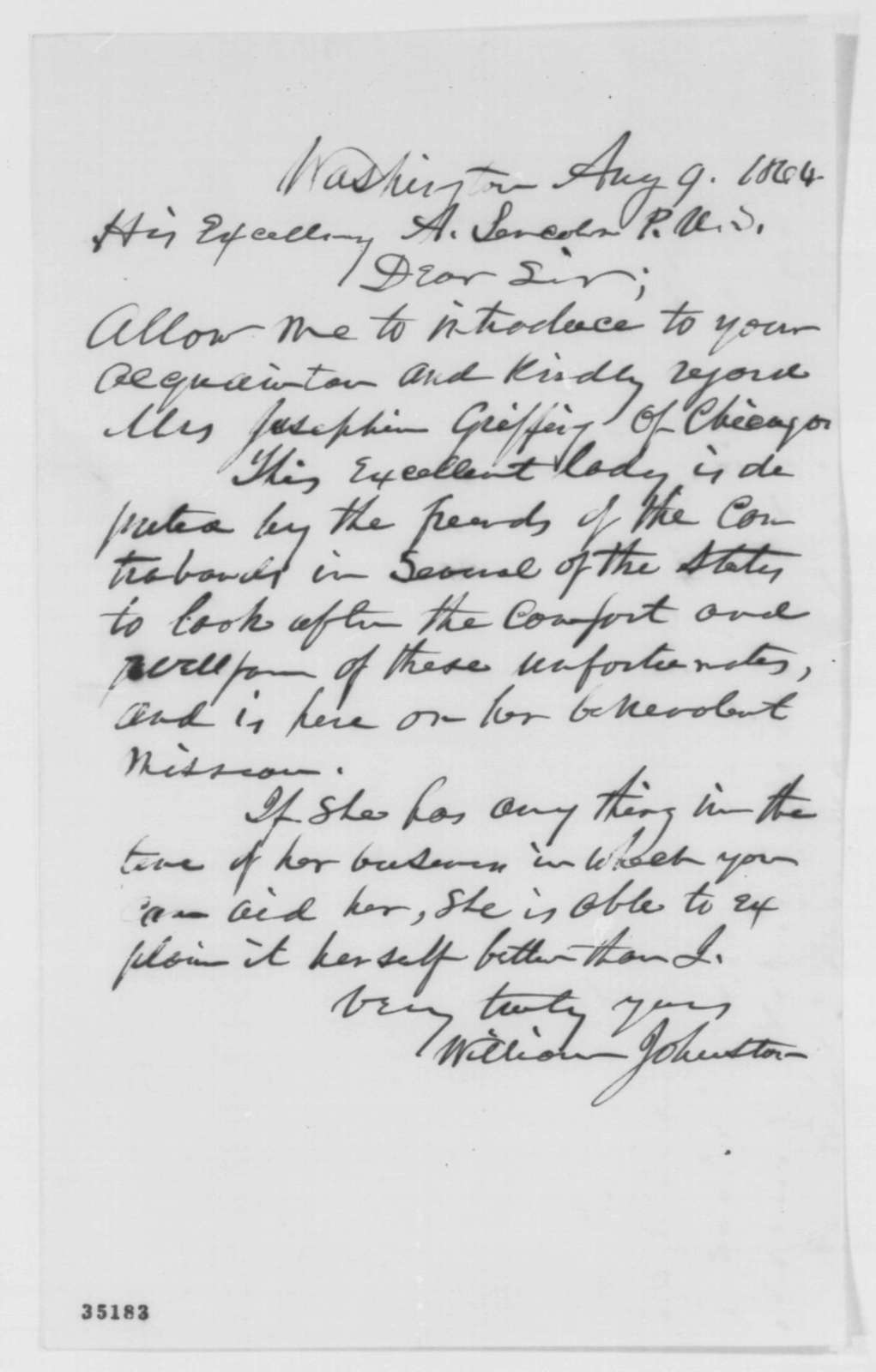 William Johnston to Abraham Lincoln, Tuesday, August 09, 1864  (Introduction)