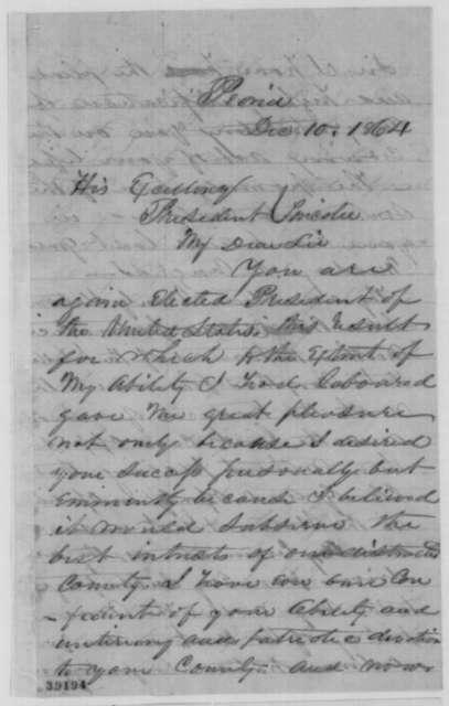 William Kellogg to Abraham Lincoln, Saturday, December 10, 1864  (Congratulations)