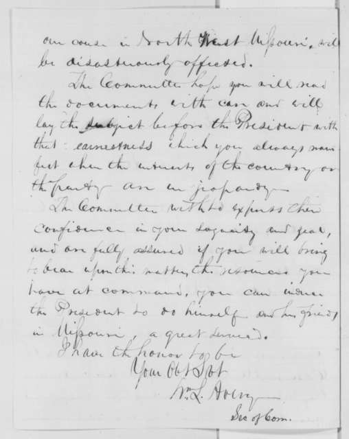 William L. Avery to James M. Edmunds, Wednesday, July 27, 1864  (Cover letter)