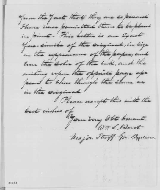 William L. Burt to Abraham Lincoln, Saturday, March 05, 1864  (Sends Andrew Jackson letter)