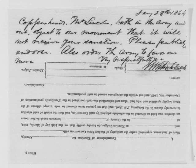 William M. Fishback to Abraham Lincoln, Thursday, January 28, 1864  (Affairs in Arkansas)