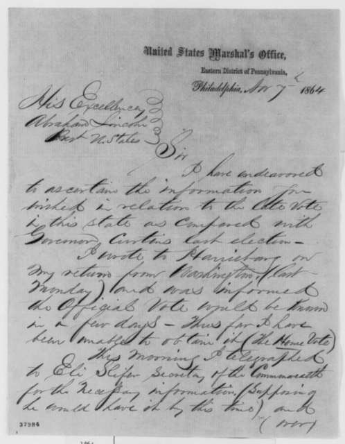 William Millward to Abraham Lincoln, Monday, November 07, 1864  (Election returns in Pennsylvania)