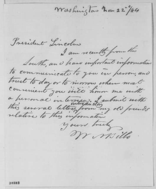 William N. Bilbo to Abraham Lincoln, Tuesday, November 22, 1864  (Seeks interview)