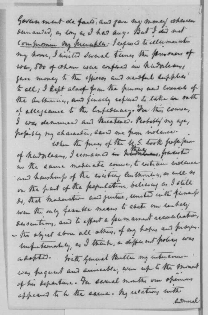 William Newton Mercer to Abraham Lincoln, Sunday, March 20, 1864  (Seeks return of his property)