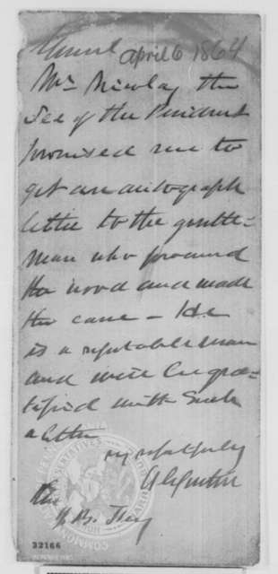 William O. Snider to Andrew G. Curtin, Wednesday, April 06, 1864  (Presents cane for Lincoln; endorsed by Curtin)