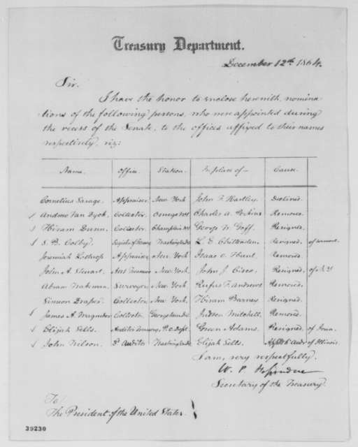 William P. Fessenden to Abraham Lincoln, Monday, December 12, 1864  (Sends list of nominations for offices)