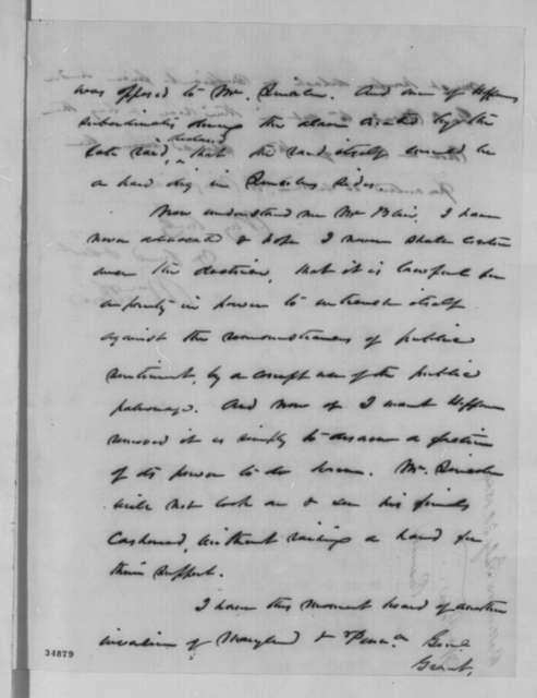 William Price to Montgomery Blair, Saturday, July 30, 1864  (Affairs at Baltimore)