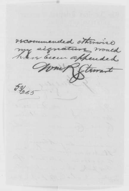 William R. Stewart to John G. Nicolay, Wednesday, February 17, 1864  (Telegram recommending Abram Wakeman for collector of New York customs house)