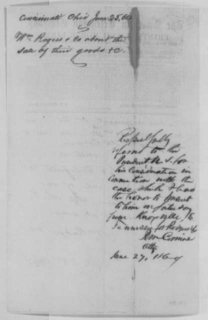 William Rodgers & Co. to Richard M. Corwine, Saturday, June 25, 1864  (Telegram concerning sale of goods; endorsed by Corwine)