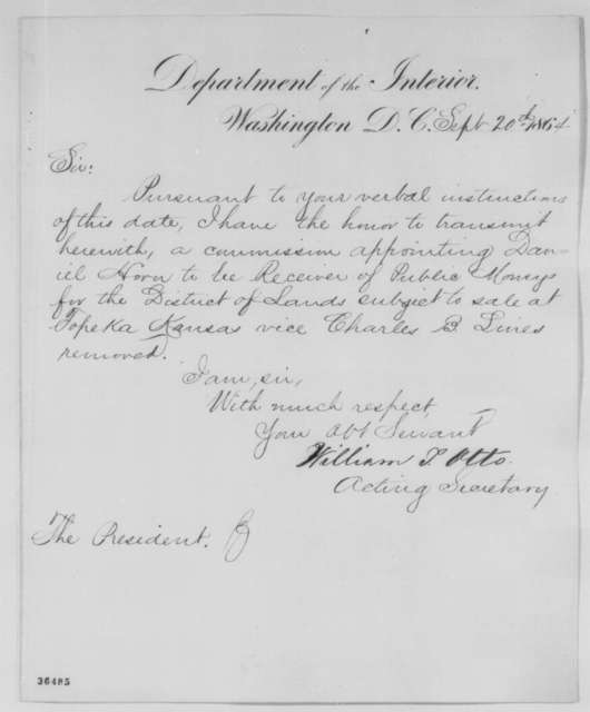 William T. Otto to Abraham Lincoln, Tuesday, September 20, 1864  (Sends commission)