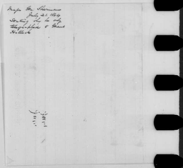 William T. Sherman to Abraham Lincoln, Thursday, July 21, 1864  (Telegram acknowledging receipt of dispatch)