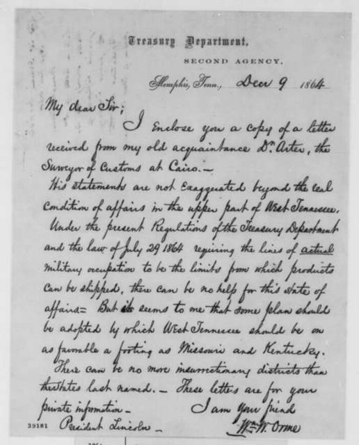 William W. Orme to Abraham Lincoln, Friday, December 09, 1864  (Cover letter)