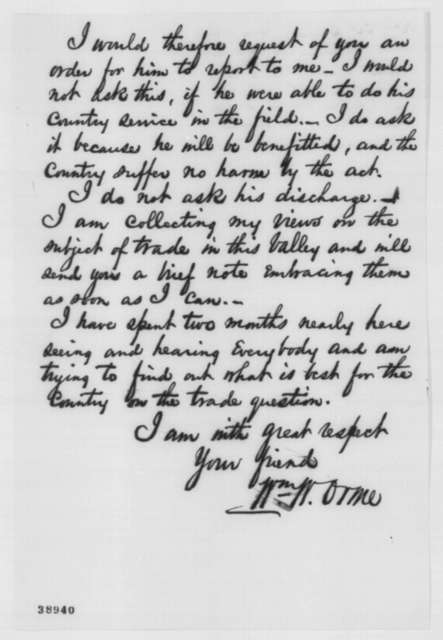 William W. Orme to Abraham Lincoln, Thursday, December 01, 1864  (Requests military transfer for William McCullough)