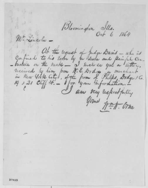 William W. Orme to Abraham Lincoln, Thursday, October 06, 1864  (Cover letter)
