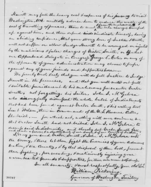William W. Pickering to Abraham Lincoln, Saturday, February 20, 1864  (Politics in Washington Territory)