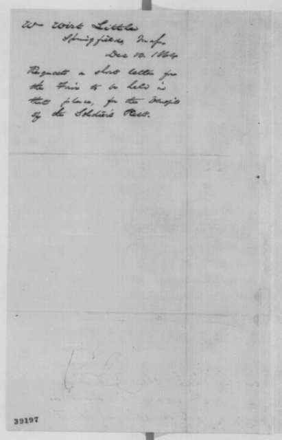William Wirt Little to Abraham Lincoln, Saturday, December 10, 1864  (Autograph request)
