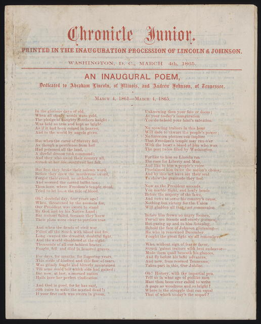 Chronicle Junior. Printed in the Inauguration Procession of Lincoln & Johnson.