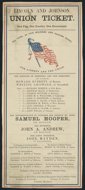 Lincoln and Johnson Union Ticket. One flag, one country, one government. [Massachusetts campaign ticket]