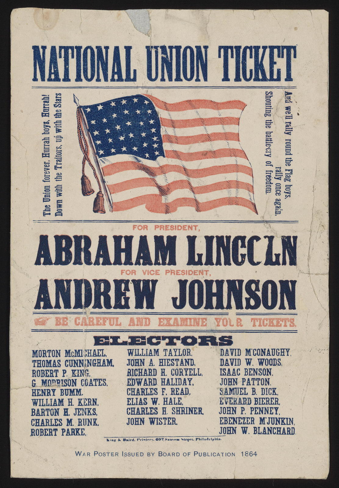 National Union ticket. For President Abraham Lincoln. For Vice President Andrew Johnson. [Campaign ticket]