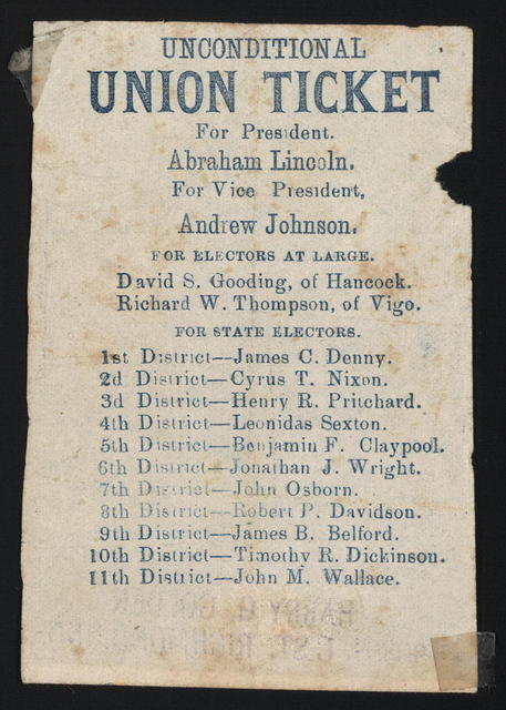 Unconditional Union ticket. [Indiana campaign ticket]