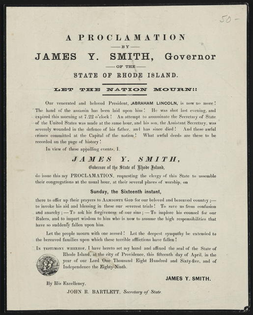 A Proclamation by James Y. Smith, Governor of the State of Rhode Island. Let the nation mourn!