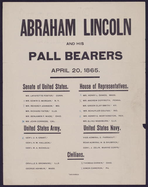 Abraham Lincoln and his pall bearers, April 20, 1865.