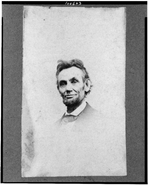 [Abraham Lincoln, head-and-shoulders portrait, facing slightly left; a detail from portrait showing Lincoln seated in a chair]