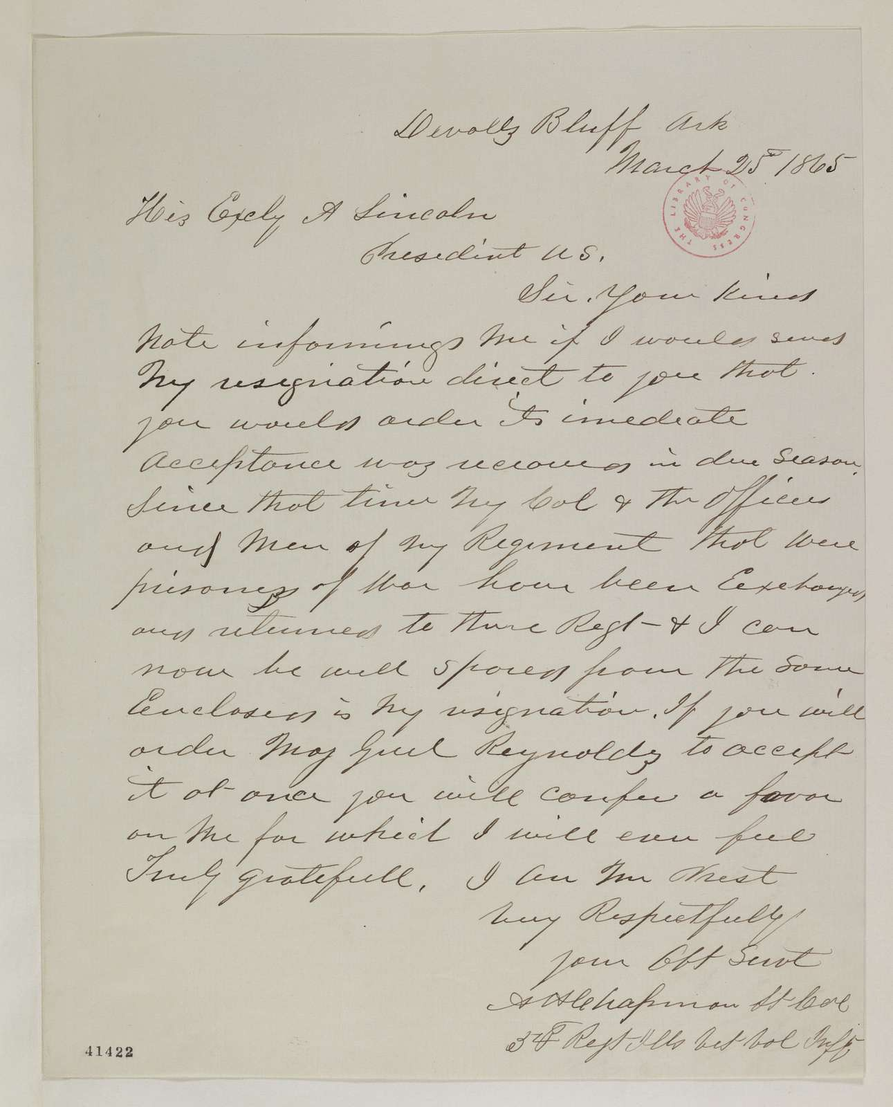 Abraham Lincoln papers: Series 1. General Correspondence. 1833-1916: Augustus H. Chapman to Abraham Lincoln, Saturday, March 25, 1865 (Resignation; endorsed by John Hay)