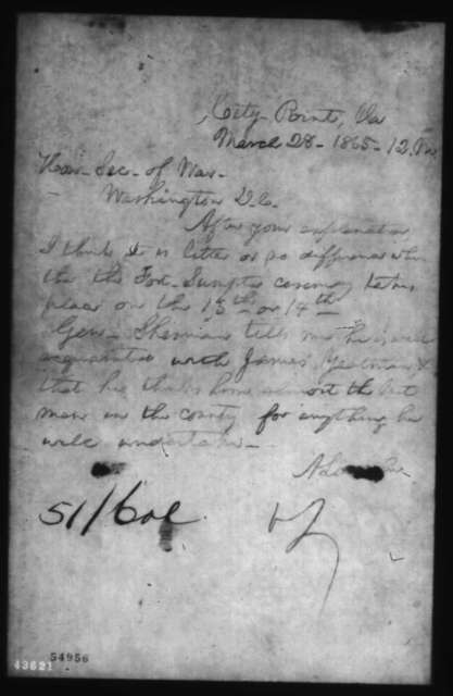 Abraham Lincoln to Edwin M. Stanton, Tuesday, March 28, 1865  (Fort Sumter ceremony and James E. Yeatman)