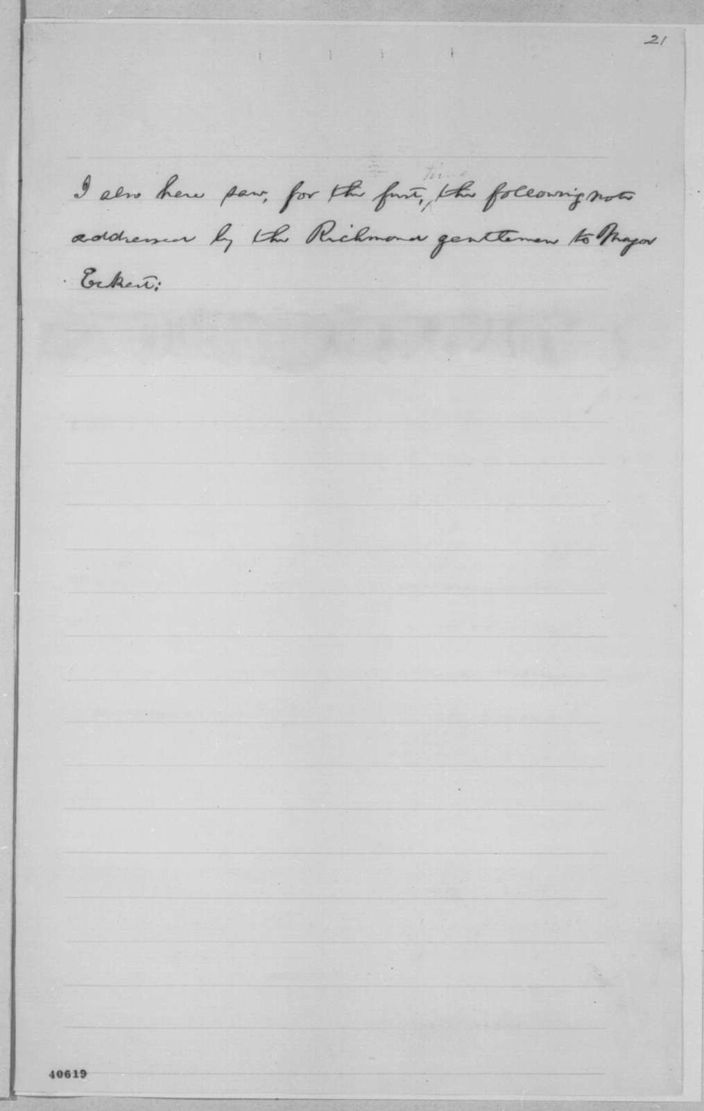 Abraham Lincoln to House Of Representatives, [February 10, 1865]  (Draft of Message Concerning Hampton Roads Conference)