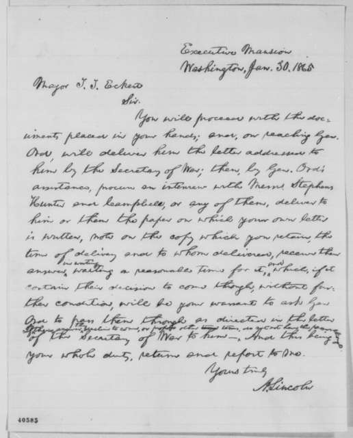 Abraham Lincoln to Thomas T. Eckert, Monday, January 30, 1865  (Hampton Roads Conference)