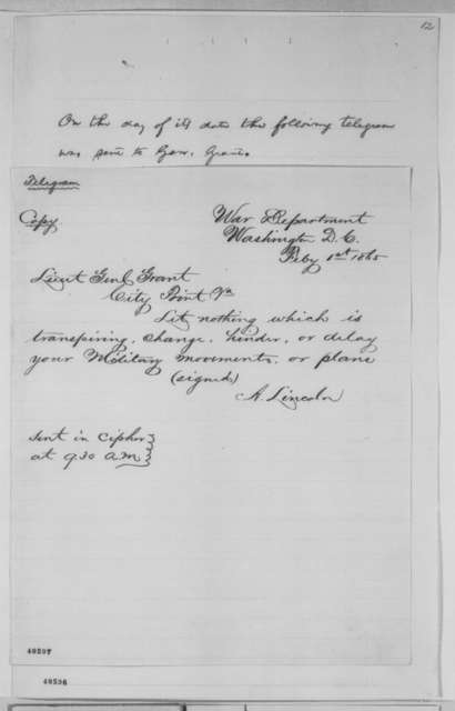 Abraham Lincoln to Ulysses S. Grant, Wednesday, February 01, 1865  (Copy of telegram concerning Hampton Roads Conference)