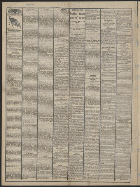 Albany Evening Journal, [newspaper]. April 15, 1865.
