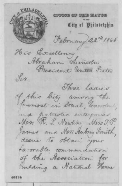 Alexander Henry to Abraham Lincoln, Wednesday, February 22, 1865  (Introduction)