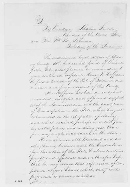 Allegany County, Maryland, Citizens to William P. Fessenden and Abraham Lincoln, [January? 1865]  (Petition on Behalf of Henry W. Hoffman)