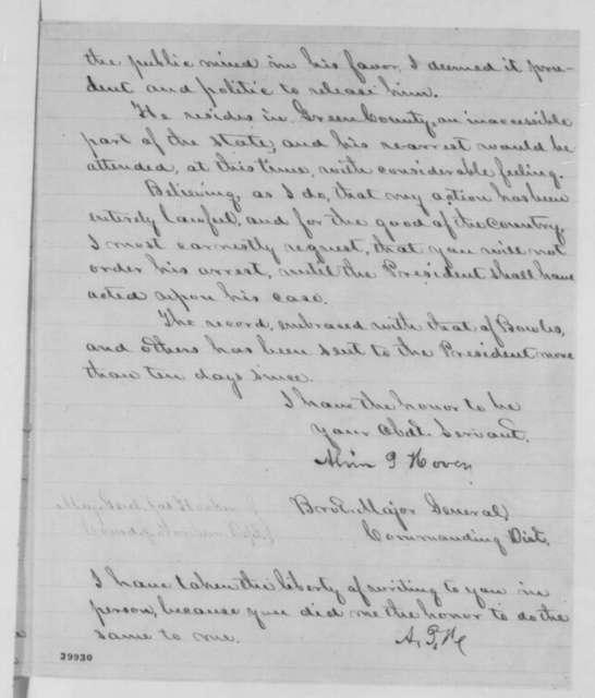 Alvin P. Hovey to Joseph Hooker, Tuesday, January 10, 1865  (Case of Andrew Humphreys)