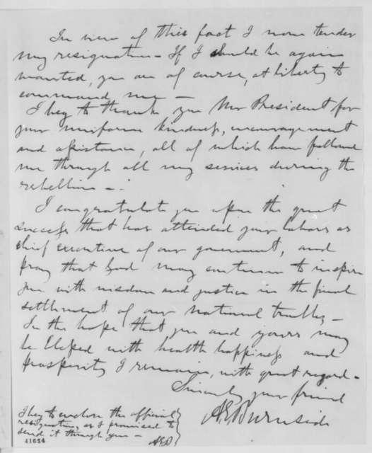 Ambrose E. Burnside to Abraham Lincoln, Friday, April 14, 1865  (Resignation)