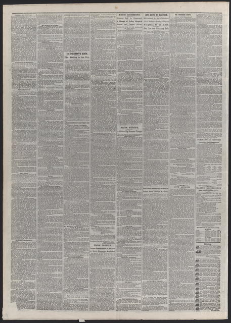 American and Commercial Advertiser, [newspaper]. April 17th, 1865.