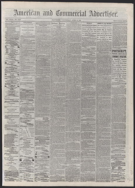 American and Commercial Advertiser, [newspaper]. April 19th, 1865.