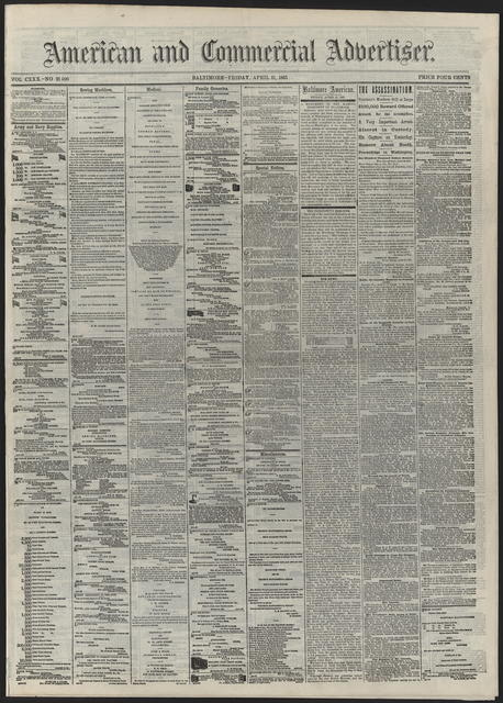 American and Commercial Advertiser, [newspaper]. April 21st, 1865.