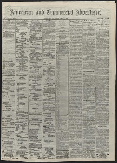 American and Commercial Advertiser, [newspaper]. April 22th, 1865