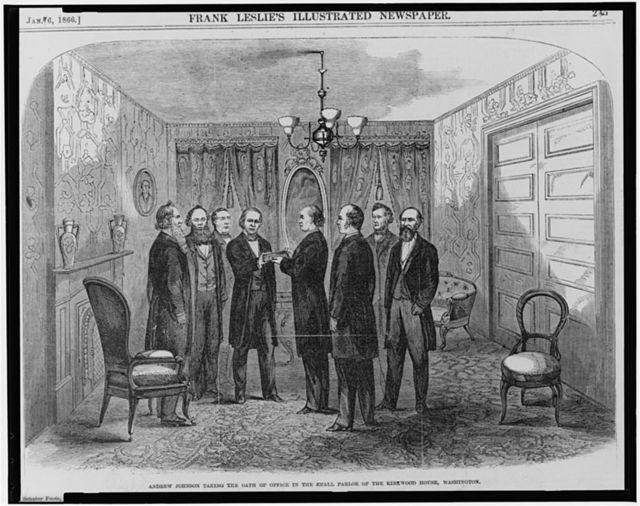 Andrew Johnson taking the oath of office in the small parlor of the Kirkwood House [Hotel], Washington, [April 15, 1865]