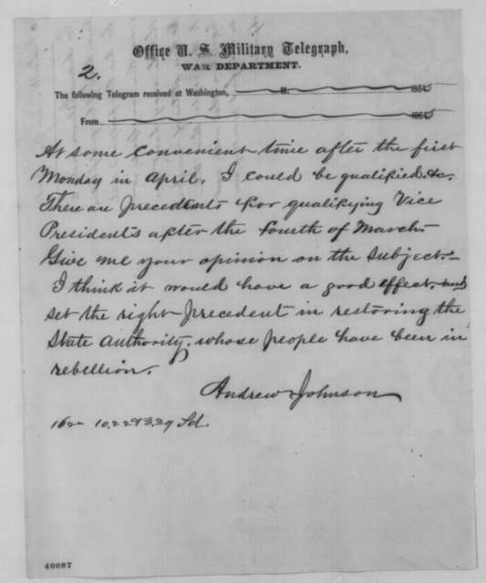 Andrew Johnson to Abraham Lincoln, Tuesday, January 17, 1865  (Telegram concerning abolition of slavery in Tennessee)