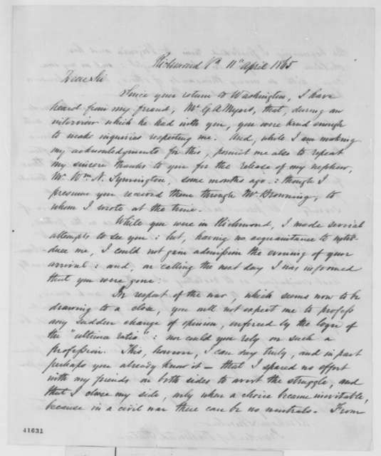 Andrew Johnston to Abraham Lincoln, Tuesday, April 11, 1865  (Union occupation of Richmond)