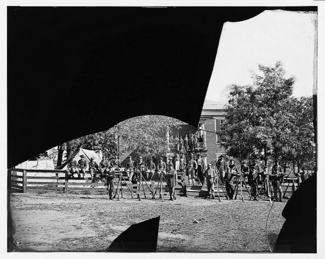 Appomattox Court House, Virginia. Group of Federal soldiers at court house