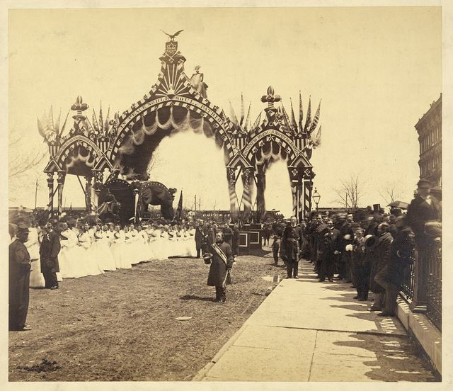 Arch at Twelfth St., Chicago, President Abraham Lincoln's hearse and young ladies