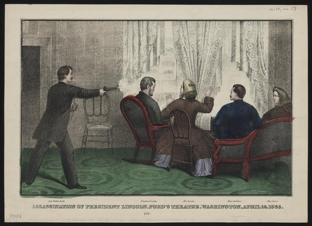 Assassination of President Lincoln at Ford's Theatre, Washington, D. C., April 14th, 1865. [E. R. & E. C. Kellogg depiction of Lincoln's assassination.]